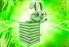 3d rabbit nerd wear spectacles and many books illustration Stock Photos