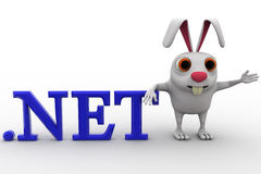 3d rabbit with .net domain text concept Stock Images