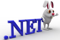 3d rabbit with .net domain text concept Royalty Free Stock Photo