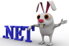 3d rabbit with .net domain text concept Royalty Free Stock Image