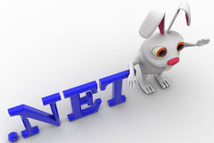 3d rabbit with .net domain text concept Stock Photography