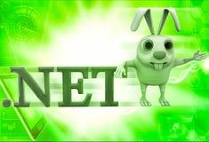 3d rabbit with .net domain text illustration Stock Photo