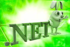 3d rabbit with .net domain text illustration Stock Images