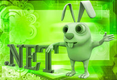 3d rabbit with .net domain text illustration Royalty Free Stock Photography