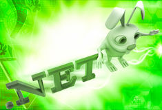 3d rabbit with .net domain text illustration Stock Image