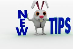 3d rabbit with new tips text concept Royalty Free Stock Image