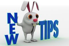 3d rabbit with new tips text concept Stock Photos