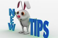 3d rabbit with new tips text concept Stock Photo