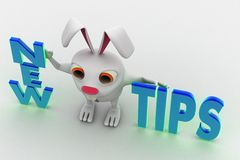 3d rabbit with new tips text concept Royalty Free Stock Images