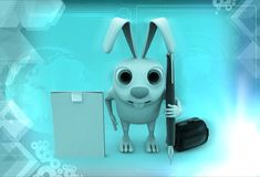 3d rabbit with notepad and pen illustration Royalty Free Stock Images