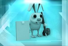 3d rabbit with notepad and pen illustration Stock Images