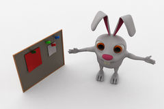 3d rabbit with notice board concept Royalty Free Stock Image