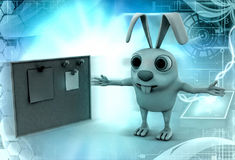 3d rabbit with notice board illustration Stock Images