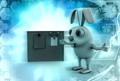 3d rabbit with notice board illustration Stock Photography