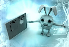 3d rabbit with notice board illustration Royalty Free Stock Image