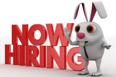 3d rabbit with NOW  HIRING text concept Royalty Free Stock Photos