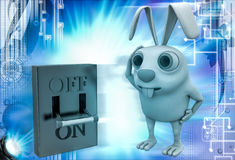 3d rabbit with on off lever switch illustration Royalty Free Stock Photo