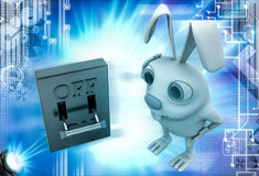 3d rabbit with on off lever switch illustration Stock Photos