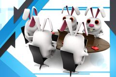 3d group of rabbit in  office conference table illustration Royalty Free Stock Image