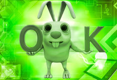 3d rabbit with ok symbol illustration Royalty Free Stock Photos
