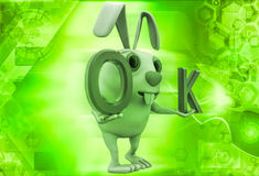 3d rabbit with ok symbol illustration Stock Photography