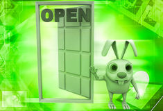 3d rabbit with open door illustration Royalty Free Stock Photography
