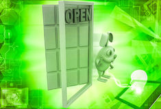 3d rabbit with open door illustration Royalty Free Stock Image