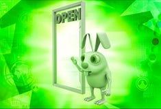 3d rabbit with open door illustration Stock Photo