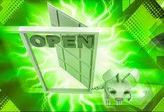 3d rabbit with open door illustration Stock Images