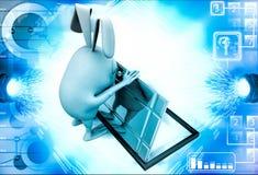 3d rabbit opening box with steel door illustration Royalty Free Stock Photos