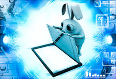 3d rabbit opening box with steel door illustration Stock Image
