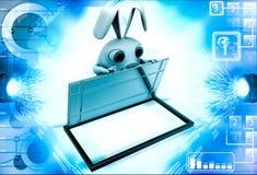 3d rabbit opening box with steel door illustration Stock Photos