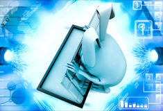 3d rabbit opening box with steel door illustration Royalty Free Stock Photography