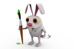 3d rabbit painter concept Royalty Free Stock Image