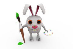 3d rabbit painter concept Royalty Free Stock Photo