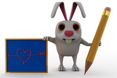3d rabbit with pencil and board concept Stock Photos