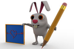 3d rabbit with pencil and board concept Royalty Free Stock Photography