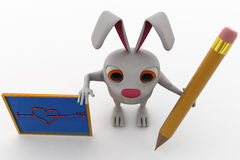 3d rabbit with pencil and board concept Royalty Free Stock Photos