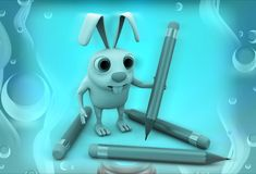 3d rabbit with pencils illustration Stock Photography