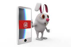 3d rabbit phone mail concept Stock Photography