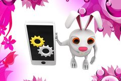 3d rabbit visualizing phone setting illstration Royalty Free Stock Images