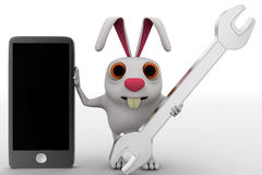 3d rabbit with phone and wrench concept Royalty Free Stock Photo