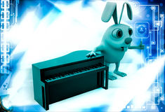 3d rabbit with piano illustration Royalty Free Stock Image
