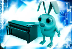 3d rabbit with piano illustration Stock Photo