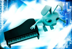 3d rabbit with piano illustration Royalty Free Stock Photos