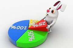 3d rabbit with pie chart and percentages concept Royalty Free Stock Photos