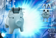 3d rabbit with piggybank and bomb illustration Royalty Free Stock Image