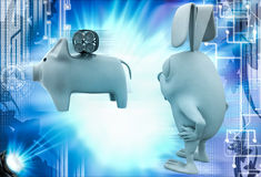 3d rabbit with piggybank and bomb illustration Stock Images
