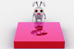 3d rabbit with pink question mark melt on Royalty Free Stock Photos