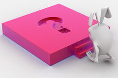 3d rabbit with pink question mark melt on Stock Photography